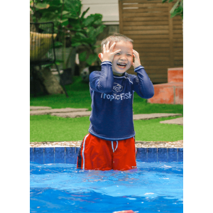Combo Blue Rash Top + Red Swim Shorts